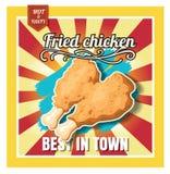Poulet frit de menu d'aliments de préparation rapide de restaurant sur le beau fond illustration stock