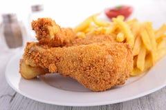 Poulet frit et fritures Photos stock