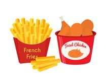 Poulet frit, jambes, ailes, pommes frites Style plat de bande dessinée Vecteur illustration stock