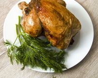 Poulet frit, poulet frit prêt à être servi, Photographie stock libre de droits