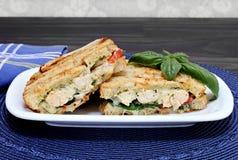 Poulet, fromage, et sandwich à panini de pesto Photographie stock