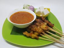 Poulet grillé satay Photos stock