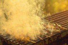 Poulet grillé sur la poêle chaude photos stock