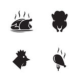 Poulet, icônes de poulet frit réglées illustration stock