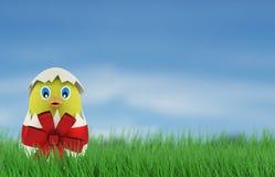 Poulet jaune dans un oeuf de pâques 3d rendent Image libre de droits