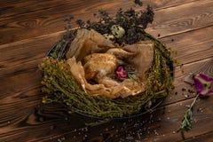 Poulet mongol avec des herbes et des ?pices dans un nid d'herbe images stock