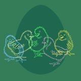 Poulet multicolore de Pâques Images libres de droits