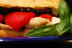 Poulet, poivre, et sandwich à Pesto Photographie stock libre de droits