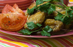 Poulet rôti avec les tomates Image stock