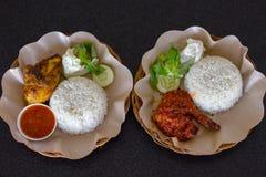 Poulet rôti avec la sauce de soja et poulet Rujak Image stock