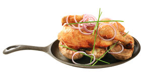 Poulet rôti et pommes de terre photographie stock libre de droits