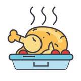Poulet rôti, poule frite, concept de nourriture de partie Image libre de droits