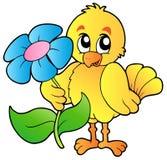 Poulet retenant la grande fleur illustration de vecteur
