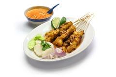 Poulet satay avec de la sauce à arachide, cuisine indonésienne de brochette images libres de droits