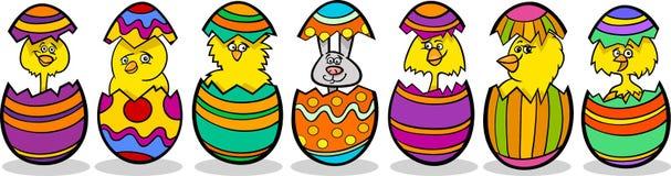 Poulets dans l'illustration de bande dessinée d'oeufs de pâques Photos stock