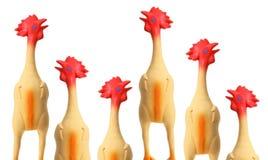 Poulets en caoutchouc de jouet photographie stock libre de droits
