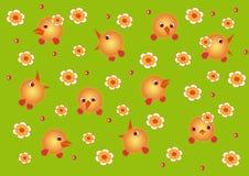 Poulets et fleurs Photographie stock libre de droits