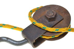 Poulie avec la corde jaune image libre de droits