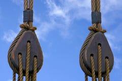 Poulie d'un Hanse Kogge, bateau de navigation image stock
