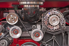 Poulies d'entraînement d'engine de V-8 Images libres de droits