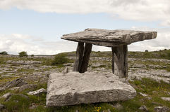 Poulnabrone dolmen. View of Poulnabrone dolmen. It is a portal tomb in the Burren, County Clare, Ireland. Neolithic period between 4200 BC to 2900 BC Stock Image
