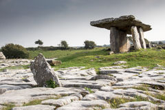 Poulnabrone Dolmen, ancient celtic site at sunset. 5,000 year old portal tomb in the karst limestone Burren area of County Clare, Ireland Royalty Free Stock Photo