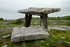 Poulnabrone dolmen. Burren, County Clare. Ireland. Poulnabrone dolmen is a portal tomb in the Burren, County Clare, Ireland, dating back to the Neolithic period Royalty Free Stock Photo