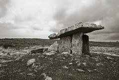 Poulnabrone Dolmen, Clare, Ireland. Black and Poulnabrone Dolmen portal tomb in the Burren, Clare, Ireland Stock Photos