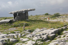 Poulnabrone dolmen. Is a portal tomb in Ireland - based in the Burren, County Clare, Ireland, dating back to the Neolithic period Royalty Free Stock Images