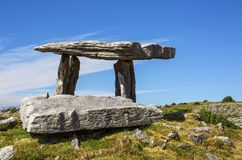 Poulnabrone dolmen. Portal tomb in the Burren, County Clare, Ireland stock images