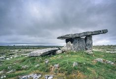 Poulnabrone Portal Tomb - Dolmen in the Burren National Park, Ireland royalty free stock photos