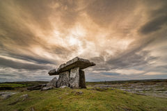 Poulnabrone portal tomb in Ireland. Poulnabrone, portal tomb in Ireland  located in the Burren, County Clare, Ireland Royalty Free Stock Photos