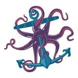 Poulpe bleu de bande dessinée avec des tentacules et des tasses d'aspiration sur l'ancre Seiches sous-marines ou mollusque invert illustration de vecteur