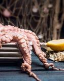 Poulpe cru dans des plats sur la table en bois bleue Photos stock