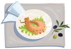 Poulpe et olives grillés Images libres de droits
