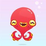Poulpe heureux de bande dessinée Monstre rouge de Halloween de vecteur avec des tentacules Photographie stock