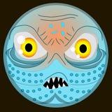 Poulpe sonriente EPS del devilfish del pulpo de la cara del emoji del monstruo de Halloween stock de ilustración