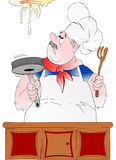 Poultice cook!. This nice illustration depicts a chef pasticcione, the image is well suited to be used in the restaurant in general Royalty Free Illustration