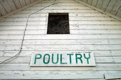 Poultry Barn. The sign and pealing paint on the front of a county fairgrounds poultry barn Royalty Free Stock Photo