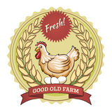 Poultry farm badge, chicken and eggs. Sticker with a wavy stroke. Vector illustration Royalty Free Stock Images