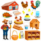 Poultry Farm Elements Set. With owner  birds barn coop roost chicken meat and eggs  vector illustration Stock Images