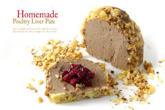 Poultry liver pate in walnut with cranberry jam, isolated on whi Stock Photography