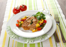 Poultry with paprika. Fresh fried poultry with paprika stock photos