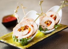 Poultry roulade filled with vegetables Stock Photos