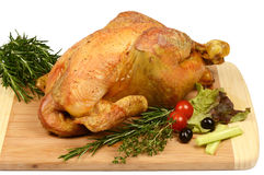 Poultry: Rustic roast chicken with rosemary Royalty Free Stock Photography