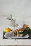 Poultry sandwich with white bread and green salad Royalty Free Stock Photography