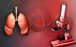 Poumons et microscope illustration de vecteur