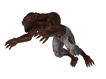 Pouncing lycan. Fantasy werewolf with bared teeth and extended claws isolated on white stock illustration