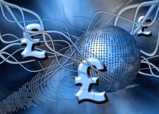 Pound. A free interpretation of money transfer over the internet, wireless transfers, the pound royalty free illustration