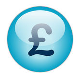 Pound. Glassy Blue Pound Icon Button royalty free illustration